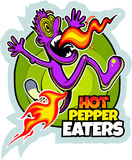 Hot pepper eater, running cartoon man and the flame, vector picture.  Royalty Free Stock Image
