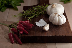 Hot pepper, garlic, rosemary Stock Photography
