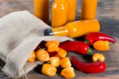 Hot pepper hot sauce bottles Stock Photography