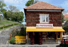 Hot pepper house, Tihany, Hungary. Pepperhouse is a house fully covered by red pepper in Tihany, Hungary Stock Photo