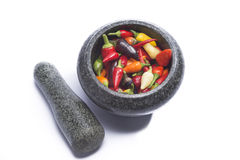 Hot pepper mix in mortar Royalty Free Stock Photo