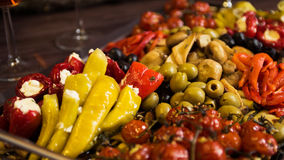 Hot Pepper, Olives and Tomatoes. Appetizer royalty free stock photo