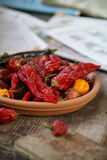 Hot pepper. Hot pappers on the plate Royalty Free Stock Photo