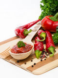 Hot pepper sauce on a wooden spoon Royalty Free Stock Photography