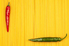 Hot pepper on spaghetti background Royalty Free Stock Images