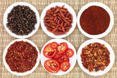 Hot Pepper Spice. Chili pepper spice in white porcelain bowls over wicker background Stock Photography