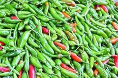 Hot pepper on street market stall Stock Images