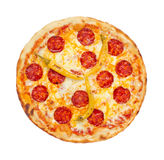 Hot Pepperoni Pizza. Thinly sliced pepperoni is a popular pizza topping in American-style pizzerias stock photos