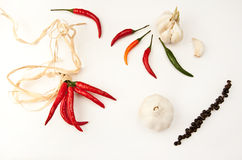 Hot peppers. Red, green, orange and black hot peppers with the garlic Royalty Free Stock Photo
