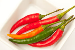 Hot peppers. Red, green and orange hot peppers in the plate Stock Photos