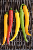 Hot peppers. On woven wicker background Royalty Free Stock Photography