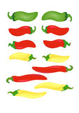 Hot Peppers. Green, red and yellow hot peppers in vector illustration AI8 Stock Image