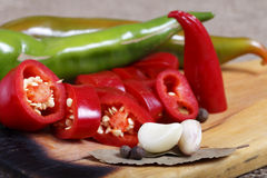 Hot peppers , beautiful background spices and condiments close up Royalty Free Stock Photo