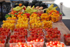 Hot Peppers, Cherry Tomatoe at Farmers Market Stock Photos