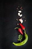 Hot peppers and spices Royalty Free Stock Image