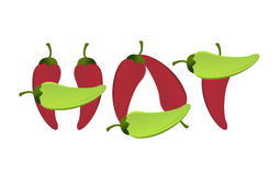 Hot peppers text sign illustration design Stock Photography
