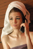 Hot phone conversation royalty free stock image