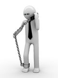 Hot phone line!. Man chained with mobile phone 2 Royalty Free Stock Images