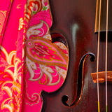 Hot pink and antique violin square Royalty Free Stock Image