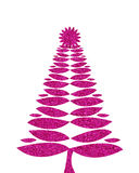 Hot pink christmas tree background with glitter vector illustration