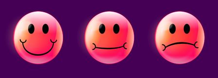 Hot-Pink Customer Satisfaction Emojis on Violet Background. Hot pink emoticons on purple background,  showing customer satisfaction for marketing surveys Royalty Free Stock Photography