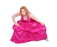 Hot pink dress girl Royalty Free Stock Image