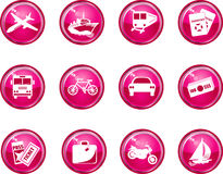 Hot Pink Glossy Travel Icons Stock Image
