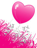 Hot pink heart and flowers. An illustrated view of a large, hot pink heart with an abstract pink and gray floral scene in the foreground. Suitable for a vector illustration