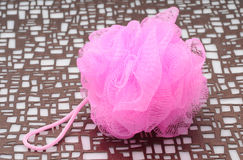 Hot pink loofah Stock Photo