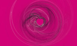 Hot Pink Love. Pink background with white and black swirls forming a heart shape stock photo