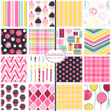 Birthday Background Patterns - Hot Pink Party Mix. 16 seamless background patterns including cupcakes, gifts, candles, balloons and more Stock Photo
