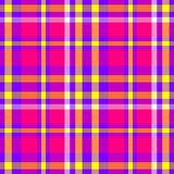 Hot pink purple yellow check diamond tartan plaid fabric seamless pattern Stock Images