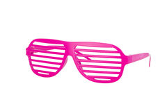 Hot pink 80's slot glasses isolated on white. Background 3/4 view stock photography