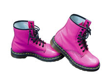 Hot Pink Safety Boots. Hot pink protective safety boots on an isolated white background with a clipping path Royalty Free Stock Images