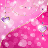 Hot pink sparkly banner with heart-shaped pendants. Elegant romance-themed background with gemstone pendants. Graphics are grouped and in several layers for easy Royalty Free Stock Image