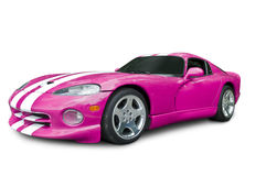 Hot Pink Sports Car - Dodge Viper. A hot pink Dodge Viper GTS, isolated on a white background with clipping path included. See my portfolio for more automotive royalty free stock photography