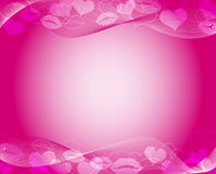 Hot pink template. Valentines day background with hearts and kisses on it Royalty Free Stock Photo