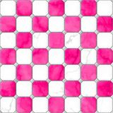 Hot pink and white marble square floor tiles with gray rhombs and grey gap seamless pattern Royalty Free Stock Images