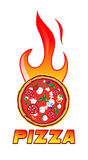 Hot pizza. Ingredients customizable with flames Stock Photos