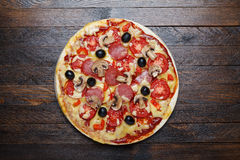 Hot pizza from above Royalty Free Stock Photo