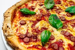 Hot pizza with cheese. Meat,  fresh basil on background Stock Photo