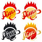 Hot pizza logo. Pizza hot devil logo, vector illustration in 4 variations Stock Photo