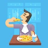 Hot Pizza Man Eat Symbol Icon Concept on Stylish Background Royalty Free Stock Photography