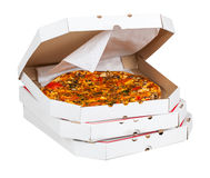 Hot pizza in open box Royalty Free Stock Photography