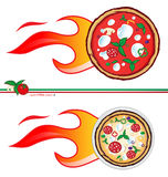 Hot pizza  project. Two variants of the pizza express design Stock Images