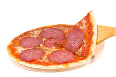 Hot pizza with salami Stock Photos