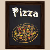 Hot pizza with salami Royalty Free Stock Photography
