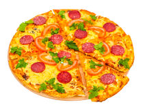 Hot pizza with salami Royalty Free Stock Photo