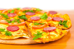 Hot pizza with salami Royalty Free Stock Images