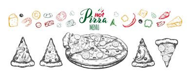 Hot Pizza set with ingredients and different types of pizza slices stock illustration